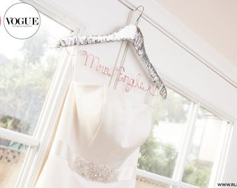Sequin Wedding Hanger / Personalized Name Hanger / Gold Hanger / Bride Hanger / Wire Hanger / Name Hanger / 3 Hanger Colors / 14 Wire Colors
