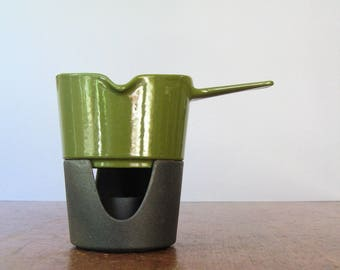 Mid Century Copco Avocado Green Enamel / Iron Warmer / Small Fondue / Sauce Pot Michael Lax