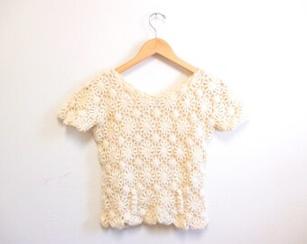Vintage 1960s Sweater   Cream Colored 1960s 70s Crochet Sweater   size small - medium