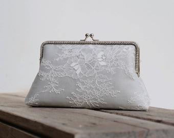 Gray Rhinestone Evening Clutch Bag / Grey Silk Handbag / Silver wristlet / Bridal Clutch