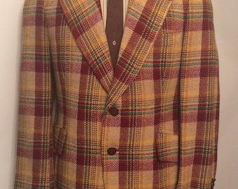 On Sale Vintage MENS Austin Reed windowpane plaid wool jacket, sport coat or blazer, tailored in U.S.A.