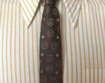 Vintage MENS 50s-60s brown jacquard woven skinny tie