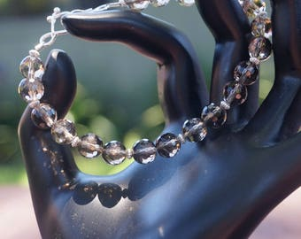Smoky Quartz and Sterling Bracelet