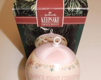 1991 Hallmark Baby's First Christmas Ornament Girl w/Box