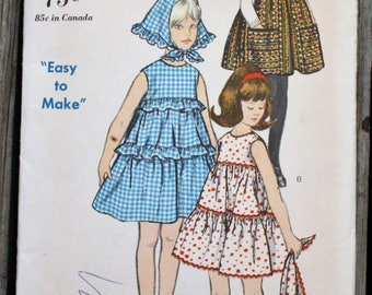 Vogue 6118 1960s 60s Tiered and Gathered Sleeveless Girls Dress or Jumper Vintage Sewing Pattern Size Girls 7