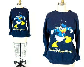 Vintage 1990s Made in USA Donald Duck Walt Disney World Navy Blue Sweatshirt // Fits Like Men's Size S Small Women's M Medium or L Large