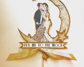 Customized Wedding Cake Topper, Great Gatsby - Moon and Stars, Bride and Groom, Gold Glitter