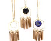 June -- colorful hexagon and vintage fringe pendant necklace, minimalist, boho, lightweight, pop of color