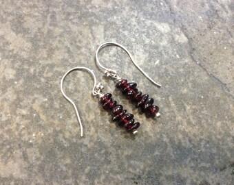 Garnet dangle earrings with Bali Sterling Silver earhooks January birthstone Earrings Boho Minimalist earrings