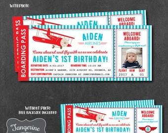 Airplane Birthday Invitation, Airplane Invitation, Vintage Airplane Birthday, Airplane Ticket Invitation, Printable PDF File