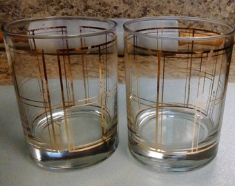 Vintage Georges Briard Gold Trim Double Old Fashion Glass/Rocks Glass, Barware