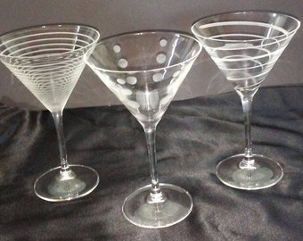 Vintage Etched Mikasa CHEERS Martini Glasses, Set of 3, Glassware, Barware, Stemware, Very Ornate
