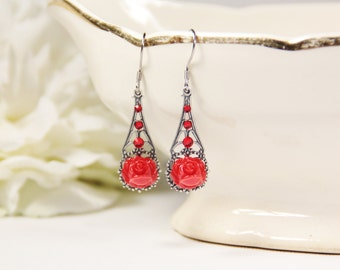 Red Rose Earrings, Silver Filigree, Floral Jewelry, Victorian Vintage, Gift For Her, Ornate Earrings, Gifts Under 40, Small Drop Earrings