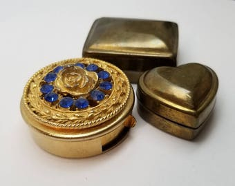 Nice Mixed Lot of 3 Mini Boxes ~ Button Box Finds ~ Gold Pill Box with Rose Top & Blue Rhinestones ~ Brass Heart Box ~ Hinged Brass Box
