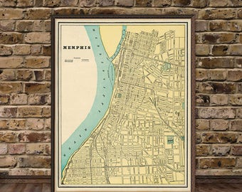 Vintage map of  Memphis - Old map fine print