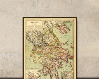 Map of Greece - Historic map of Greece - Old map fine print