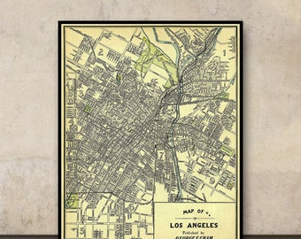Los Angeles map - Vintage map of LA archival print