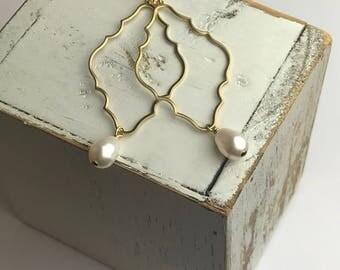 Large Gold Earrings - Quatrefoil Brass Pendants   Swarovski Crystal Pearls