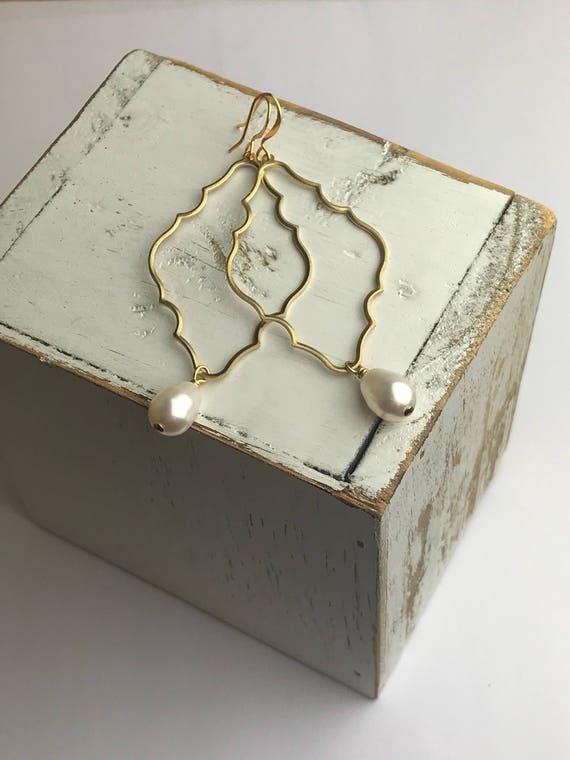 Large Gold Earrings - Quatrefoil Brass Pendants | Swarovski Crystal Pearls