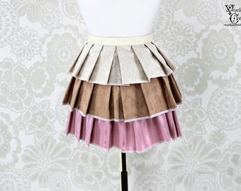 "Steampunk Ruffle Bustle Overskirt - Ivory, Tan, & Pink - 3 Layer, Sz. S - Fits up to 45"" Waist/Upper Hip -- Ready to Ship"