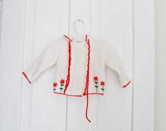 Vintage Baby Sweater Cardigan Vintage Red Embroidered Baby Sweater 9-12 months Knit Sweater