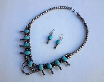 Navajo Sterling Squash Blossom Necklace and Matching Earrings Turquoise Childs / Petite Size 19""