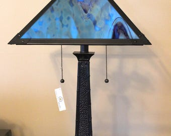 Mission style stained glass lamp shade and base