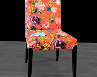 Colorful Flower IKEA HENRIKSDAL Chair Cover, Red Cinnabar