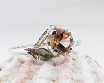 Oregon Sunstone ring- sterling silver ring -Anniversary gift Oregon Sunstone - Red Oregon Sunstone  - Oregon Sunstone Round Stone - #24