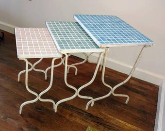 Nesting Tables Wrought Iron Tile Top, Patio, Pool, Bar, End Tables, Vintage Retro Modern Furniture