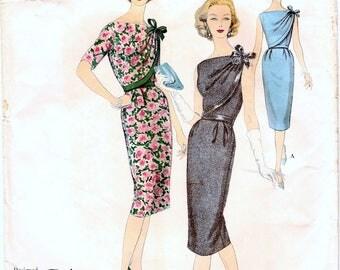 Gorgeous Uncut Vintage 1950s Vogue Paris Original 1465 Designer Patou Two Piece Slim Sheath Cocktail or Day Dress Sewing Pattern B32