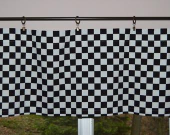 Valance . Black and White Checkered Flag Valance . Finish Flag  . Starting Flag . Drag Way . Handmade by Pretty Little Valances