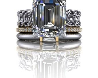 Stackable Bridal Set -Emerald Cut Engagement Ring - Diamond Wedding Band - Insieme™ Bridal Stackables