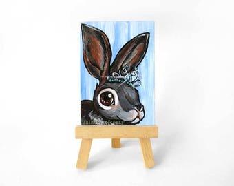 Bunny Rabbit ACEO Original, Pet Portrait, Princess Decor, Crystal Tiara, Girls Room, Nursery Wall Art, Animal Painting, Gift for Her