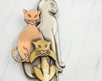 Vintage Signed K&T Cat Brooch with Multi Metal Tones, Pewter Brass Copper Tone Kitty Cat Pin, Cat Lover's Jewelry or Gift
