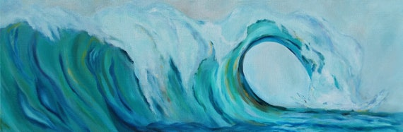 Ocean artwork, Wave painting, beach house wall art, coastal decor, surf, blue and green wave barrel, oil painting of wave crash, surf, blue