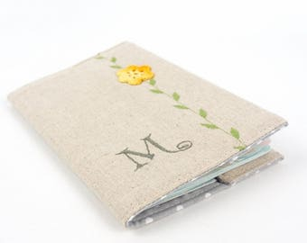Embroidered Personalised Passport Cover with Crochet Flower Gift for Her Woman's Monogrammed Passport Case Travel Accessory