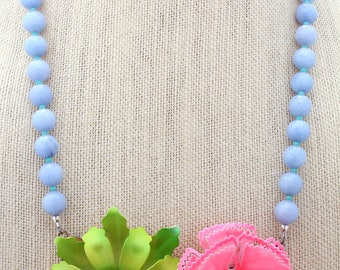 Pastel Necklace, Statement Necklace, Collage Necklace, Recycled Necklace, Recycled Jewelry,Upcycled Jewelry, Lime Necklace, Cornflower Blue