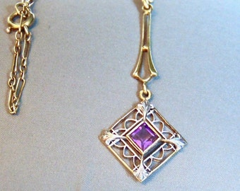 Victorian Amethyst Lavalier Pendant Necklace. 18 Inch Chain, 14K Yellow Gold