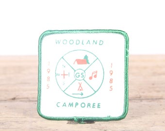 Vintage 1985 Woodland Camporee Patch / Girl Scout Patch / Boy Scout Patch / Grunge Patch / Camping Patch