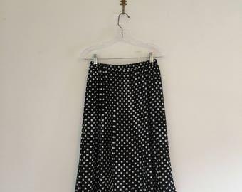 Vintage 80's Sheer Pleated Polka Dots Skirt M
