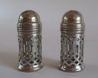 Filigree Salt and Pepper Set, Vintage Sheffield Silver Overlay Glass Insert