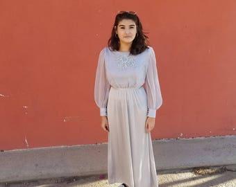 80s Vintage Dress // Long Sleeve Maxi // Silver Grey // Medium 8