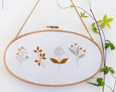 Wall Decor Embroidery Kit, Floral Spring Embroidery - Gold & Gray Blossom - Wedding embroidery, Tamar Nahir