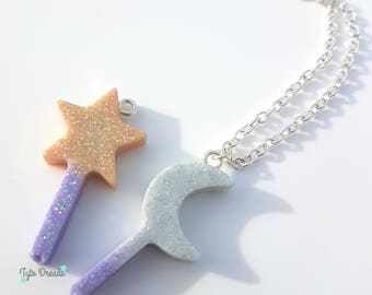 Moon and Star Wand Resin Necklace - Halloween, Creepy