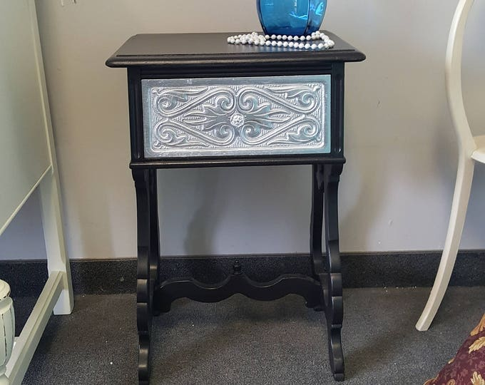 Vintage carved Shabby chic black & silver metallic table, PICK UP ONLY , antique france bedroom, night stand, bedside table, french country