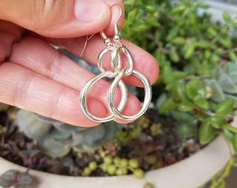 Silver Hoop Earrings Simple Earrings Minimalist Earrings New Mexico Arizona Boho Southwestern Cowgirl Fancy Earrings