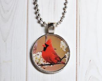 Cardinal necklace, red bird jewelry, cardinal keyring, gift for her, Christmas bird, bird lover gift, redbird gift, memory pendant