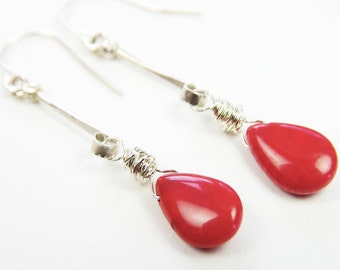Red Coral Earrings 35 Years Wedding Anniversary Sterling Silver Wire Wrapped Long Beaded Dangle Elegant Unique Feminine Delicate Romantic