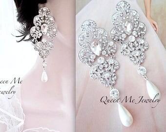 """Pearl earrings,Long crystal rhinestone chandelier earrings,Statement pearl earrings, 4"""" long pearl earrings, Wedding earrings - FLORENCE"""